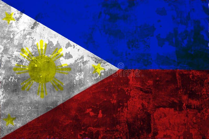 Flaga państowowa Filipiny na tle stara ściana ilustracji