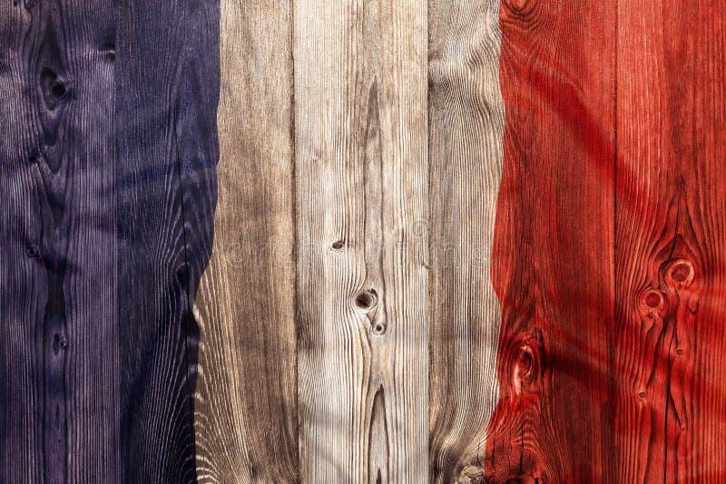 Flaga państowowa Francja, drewniany tło fotografia stock