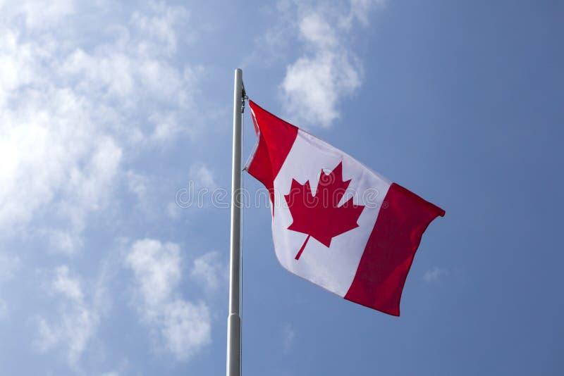 Flaga państowowa Kanada na flagpole obrazy royalty free