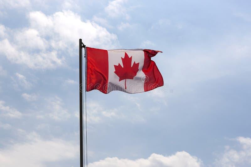 Flaga państowowa Kanada na flagpole zdjęcie stock