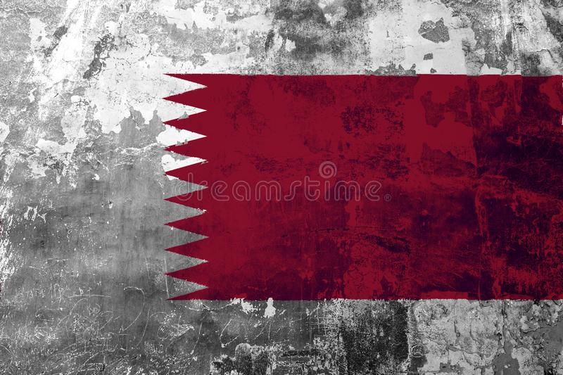 Flaga państowowa Katar na tle stara ściana ilustracja wektor
