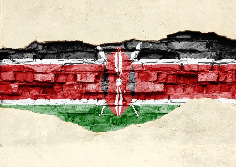 Flaga państowowa Kenja na ceglanym tle Ściana z cegieł z stronniczo zniszczonym tynkiem, tłem lub teksturą, zdjęcie stock