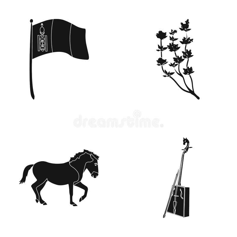 Flaga państowowa, koń, instrument muzyczny, stepowa roślina Mongolia ustalone inkasowe ikony w czerń stylu symbolu wektorowym zap ilustracja wektor