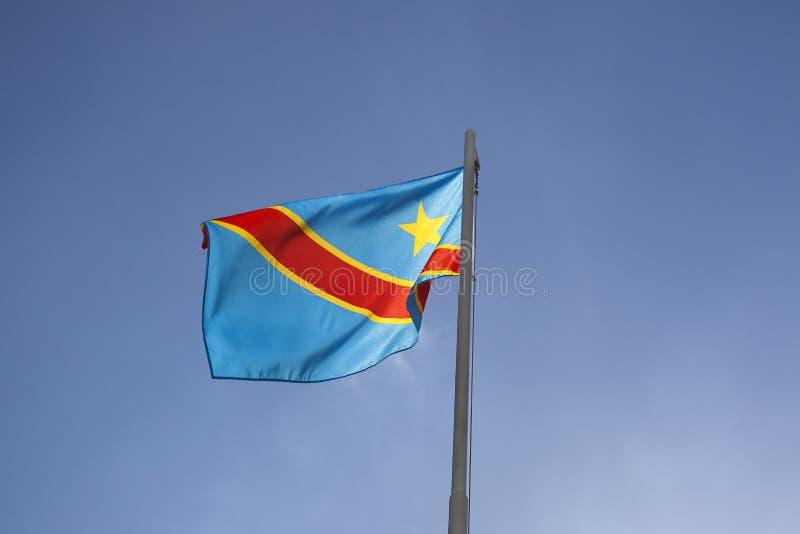 Flaga państowowa Kongo na flagpole obrazy royalty free