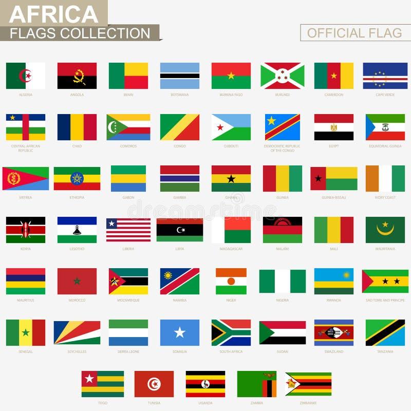 Flaga państowowa kraje afrykańscy, oficjalny wektor zaznacza kolekcję ilustracja wektor