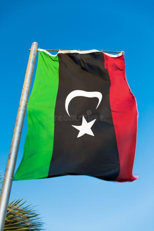 Flaga państowowa Libia na flagpole obraz royalty free