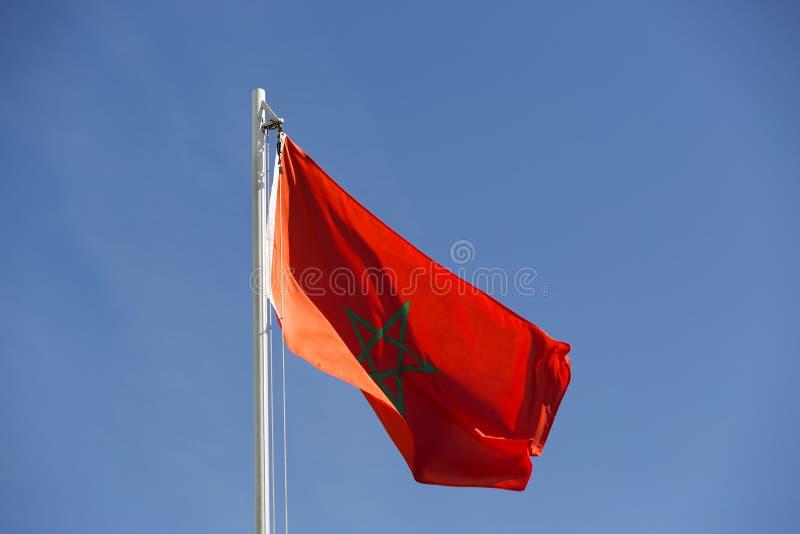 Flaga państowowa Maroko na flagpole obraz stock
