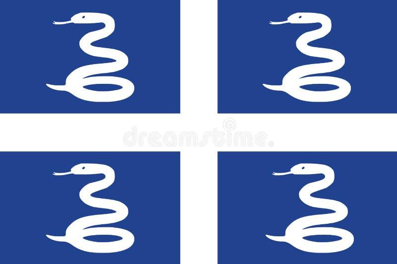 Flaga państowowa Martinique Tło z flagą Martinique royalty ilustracja