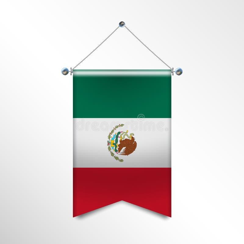 Flaga państowowa MEKSYK z tekstylną teksturą Trójboka chorągwiany obwieszenie na słupie Pionowo meksykańska ikony flaga dla ilustracji