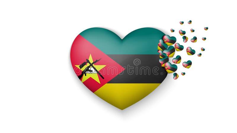 Flaga państowowa Mozambik w kierowej ilustracji Z miłością Mozambik kraj Flaga państowowa Mozambik komarnica za małym ilustracji