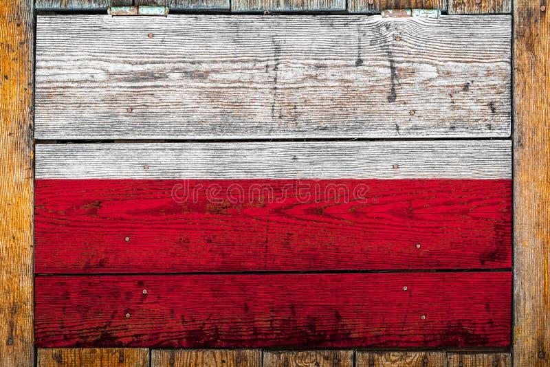 Flaga państowowa na drewnianym ściennym tle zdjęcie stock