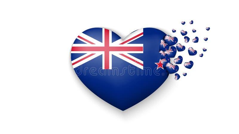 Flaga państowowa Nowa Zelandia w kierowej ilustracji Z miłością Nowa Zelandia kraj Flaga państowowa Nowa Zelandia komarnica za royalty ilustracja