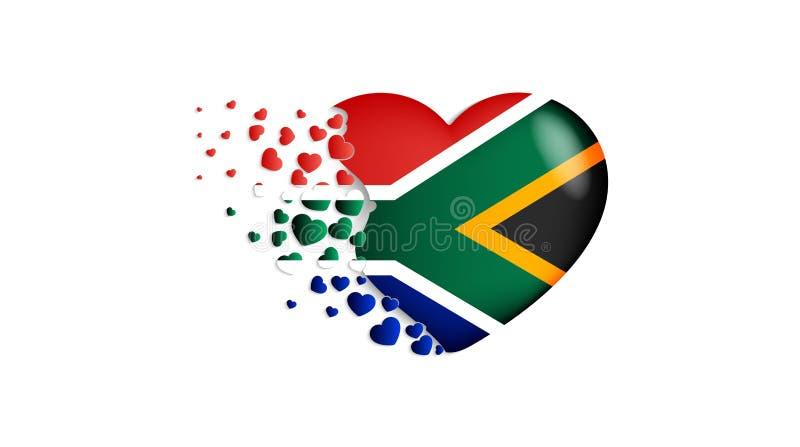 Flaga państowowa Południowa Afryka w kierowej ilustracji Z miłością Południowa Afryka kraj Flaga państowowa Południowa Afryka kom ilustracja wektor