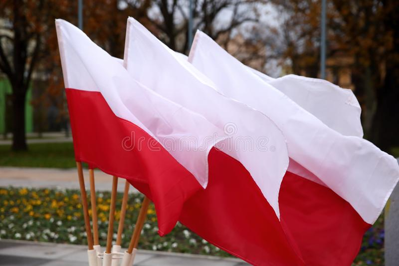 Flaga państowowa Polska fotografia stock