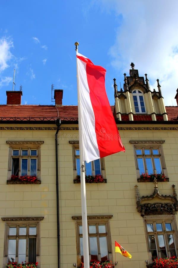 Flaga państowowa Polska na maszcie w pionowo przygotowania obrazy stock