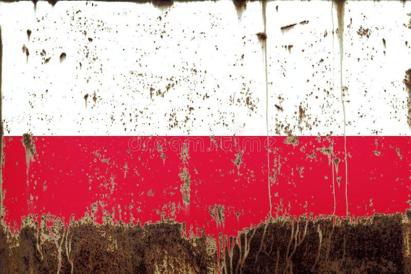 Flaga państowowa Polska na metal teksturze zdjęcia stock