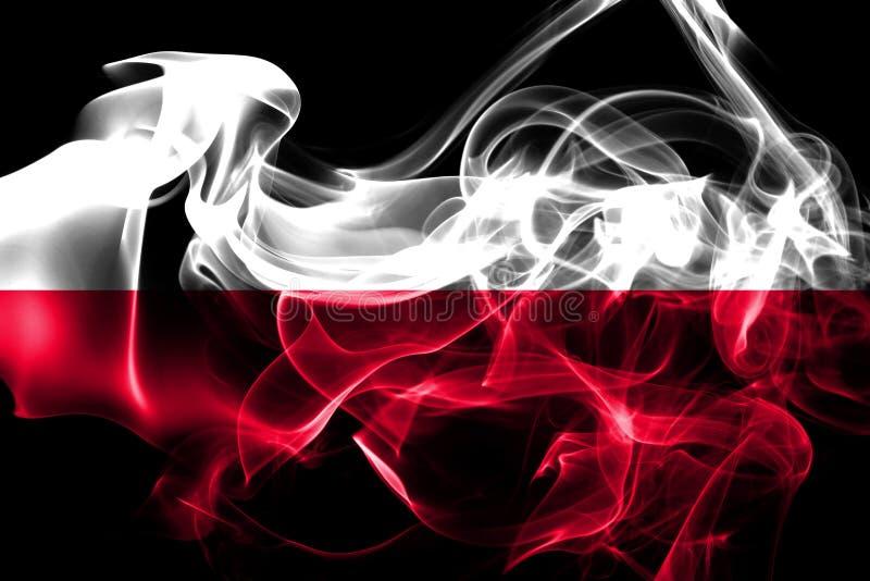 Flaga państowowa Polska zrobił od barwionego dymu odizolowywającego na czarnym tle zdjęcie royalty free