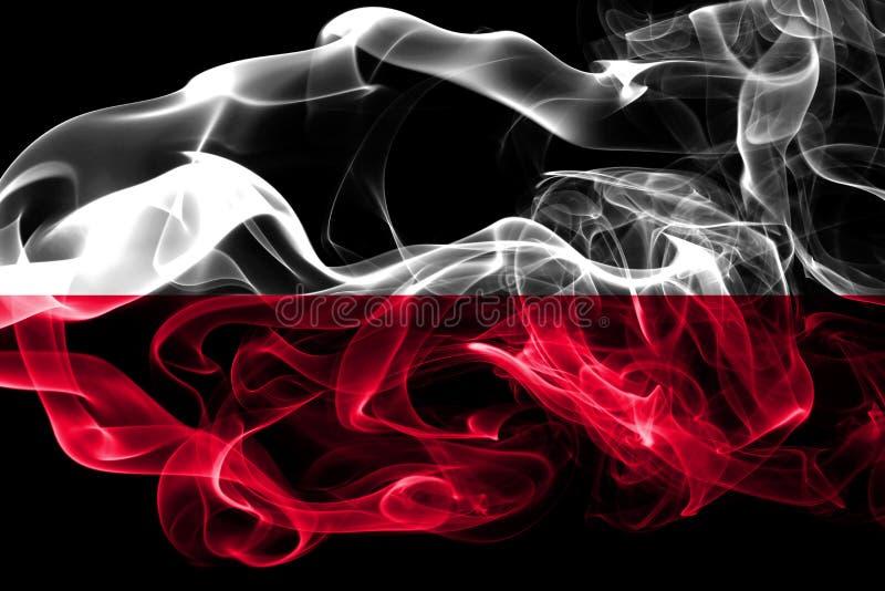 Flaga państowowa Polska zrobił od barwionego dymu odizolowywającego na czarnym tle Abstrakcjonistyczny silky falowy tło obraz stock