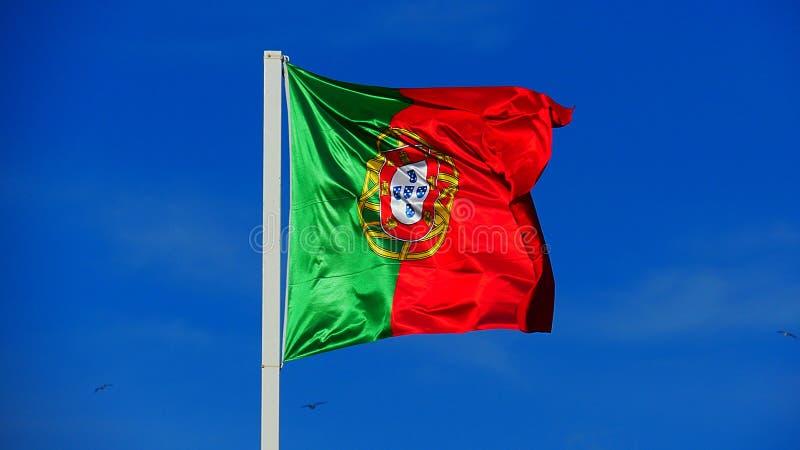 Flaga państowowa Portugalia dmuchanie w wiatrze zdjęcie royalty free
