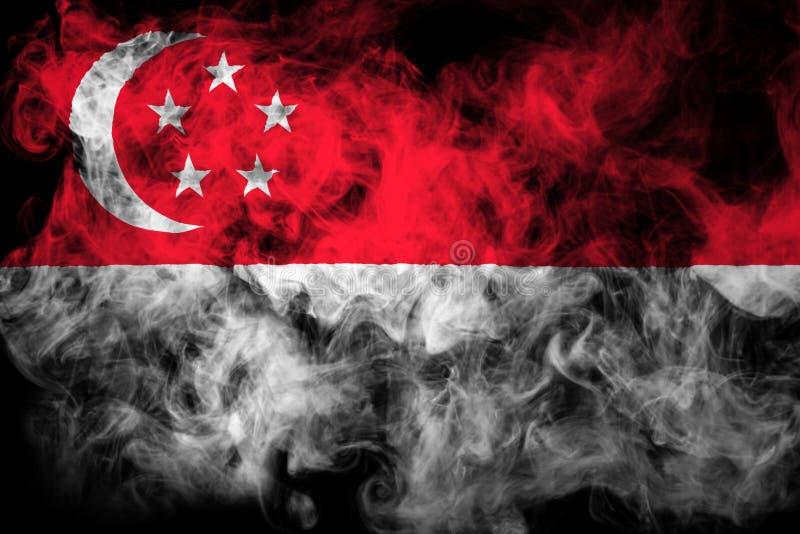 Flaga państowowa Singapur od gęstego barwionego dymu ilustracja wektor