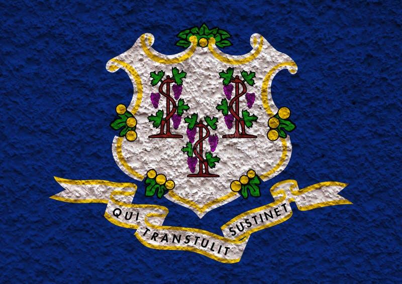 Flaga państowowa stan usa Connecticut wewnątrz przeciw szarej ścianie z kamienistą powierzchnią w dzień niezależności w błękicie  ilustracji