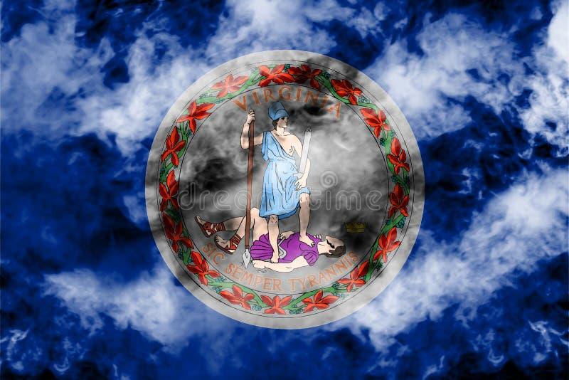 Flaga państowowa stan usa Virginia wewnątrz przeciw szaremu dymowi w dzień niezależności w różnych kolorach błękitna czerwień i ilustracja wektor
