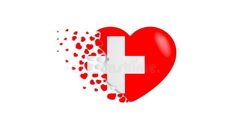 Flaga państowowa Szwajcaria w kierowej ilustracji Z miłością Szwajcaria kraj Flaga państowowa Szwajcaria komarnica za ilustracji