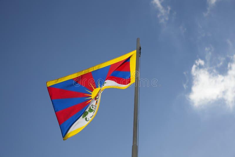 Flaga państowowa Tybet na flagpole obrazy stock