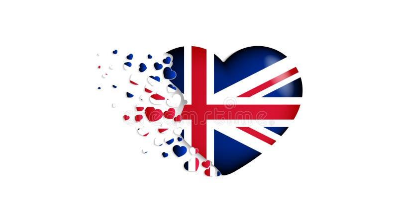 Flaga państowowa UK w kierowej ilustracji Z miłością UK kraj Flaga państowowa UK komarnica za małych sercach ilustracja wektor