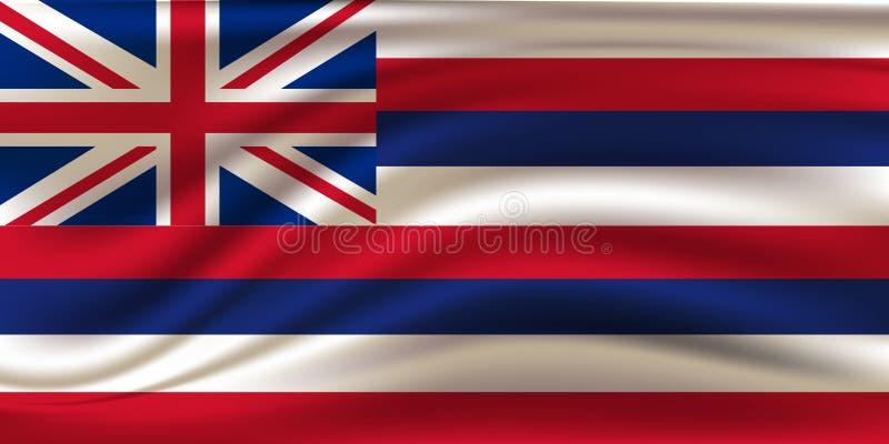 Flaga pa?stowowa Hawajscy islans Symbol stan na falistej bawe?nianej tkaninie Realistyczna wektorowa ilustracja royalty ilustracja