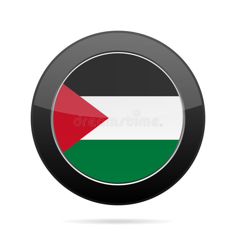 flaga Palestine Błyszczący czarny round guzik ilustracji