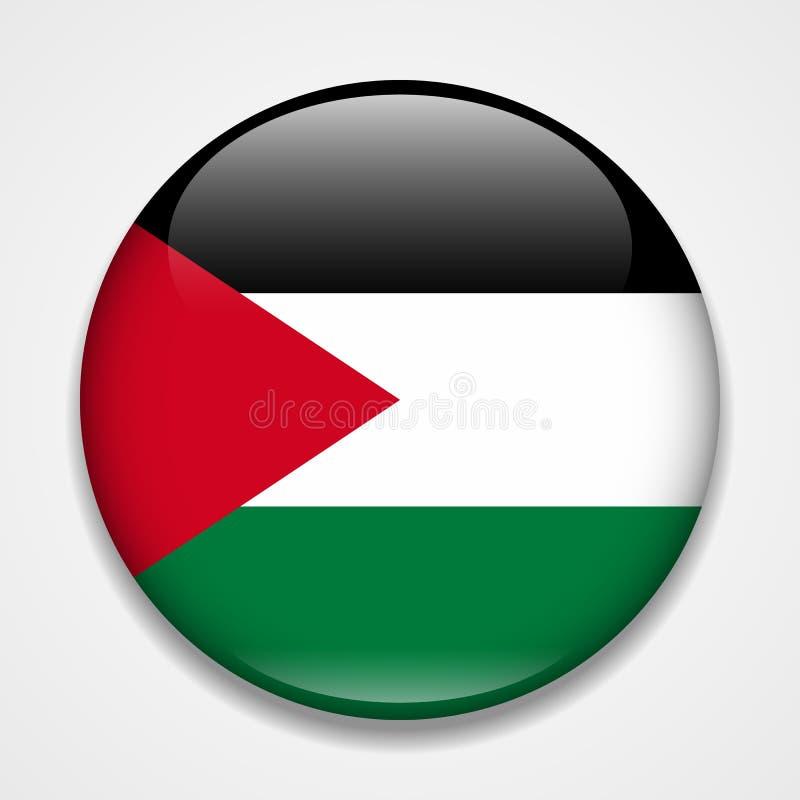 flaga Palestine Round glansowana odznaka ilustracja wektor
