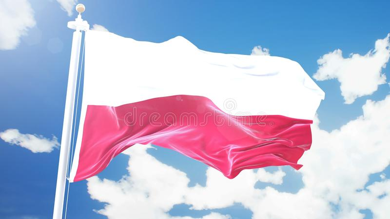 Flaga Polska falowanie przeciw upływowi chmurnieje tło zdjęcie royalty free