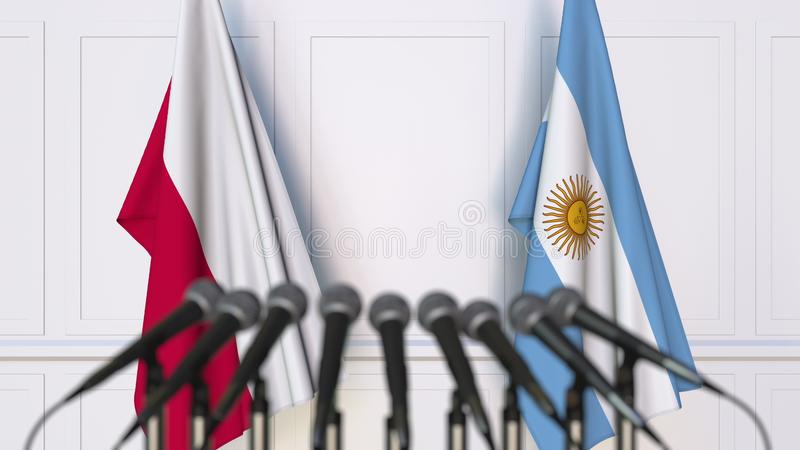Flaga Polska i Argentyna przy międzynarodowym spotkaniem lub konferencją świadczenia 3 d zdjęcie stock