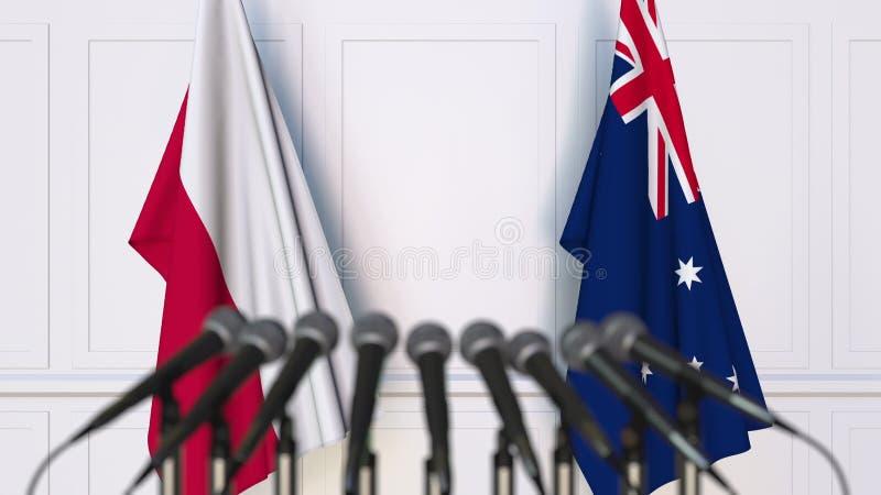 Flaga Polska i Australia przy międzynarodowym spotkaniem lub konferencją świadczenia 3 d fotografia royalty free