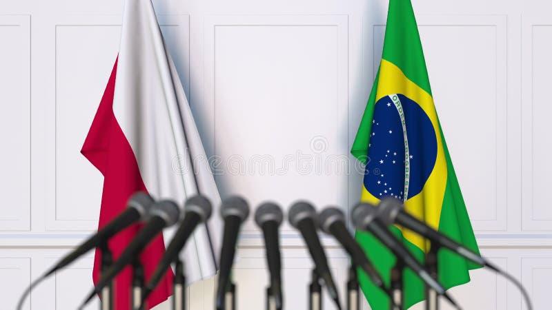 Flaga Polska i Brazylia przy międzynarodowym spotkaniem lub konferencją świadczenia 3 d zdjęcie stock
