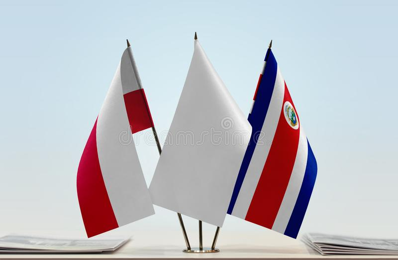 Flaga Polska i Costa Rica zdjęcia stock