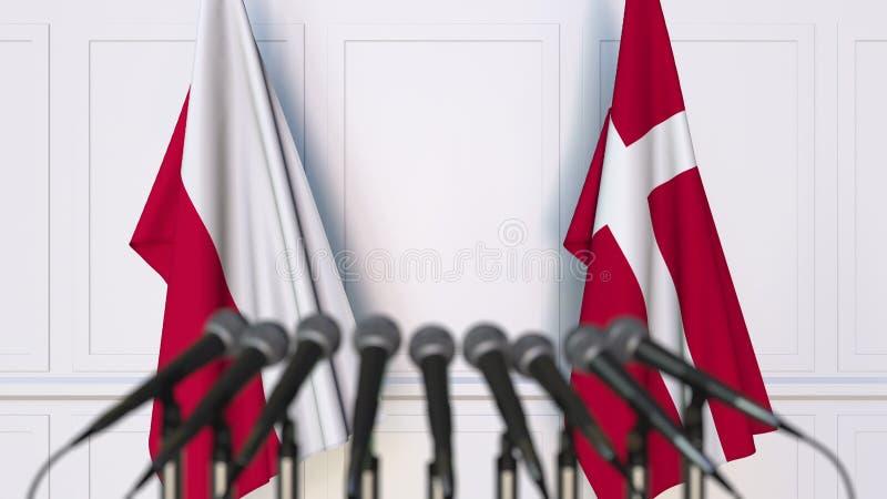 Flaga Polska i Dani przy międzynarodowym spotkaniem lub konferencją świadczenia 3 d zdjęcia stock