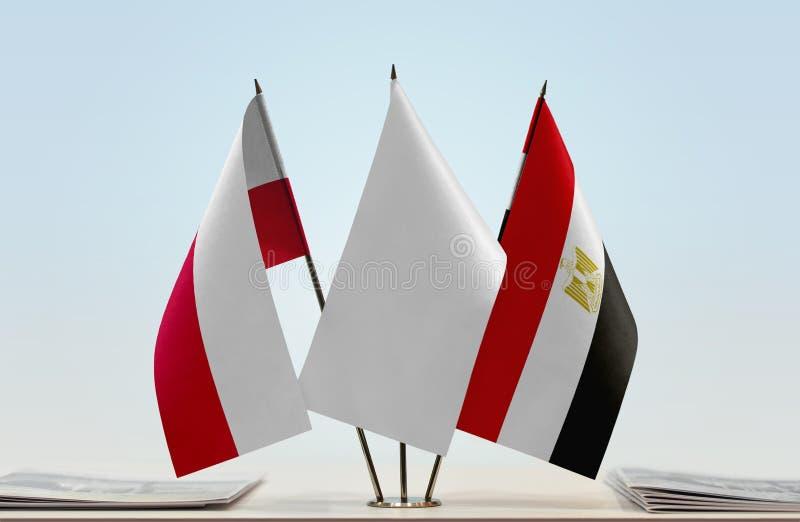 Flaga Polska i Egipt zdjęcie stock