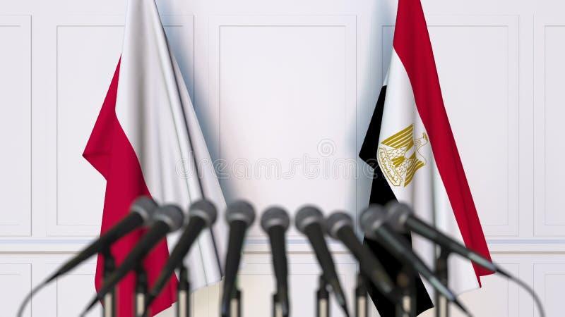 Flaga Polska i Egipt przy międzynarodowym spotkaniem lub konferencją świadczenia 3 d zdjęcia stock
