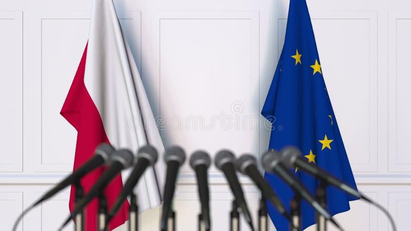 Flaga Polska i Europejski zjednoczenie przy międzynarodowym spotkaniem lub konferencją świadczenia 3 d obraz royalty free