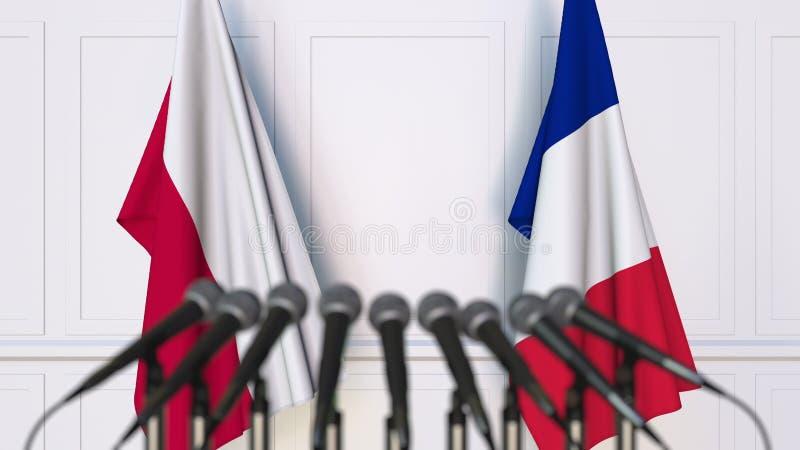 Flaga Polska i Francja przy międzynarodowym spotkaniem lub konferencją świadczenia 3 d fotografia royalty free