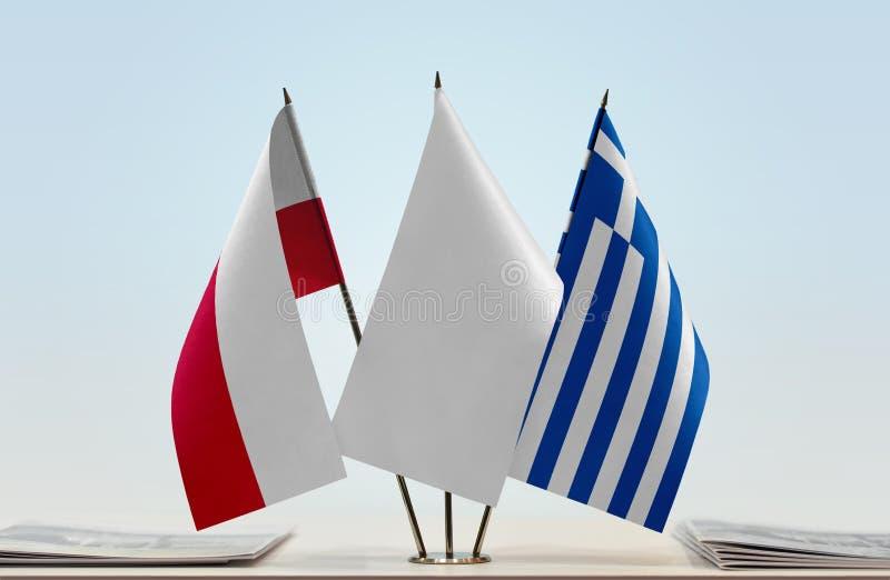 Flaga Polska i Grecja zdjęcie stock