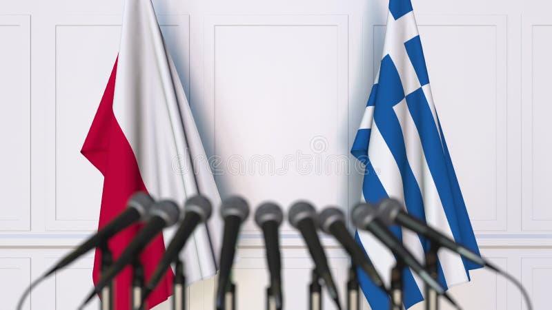 Flaga Polska i Grecja przy międzynarodowym spotkaniem lub konferencją świadczenia 3 d fotografia stock