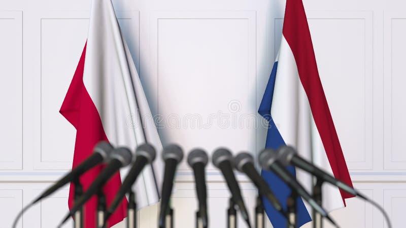 Flaga Polska i holandie przy międzynarodowym spotkaniem lub konferencją świadczenia 3 d obraz stock