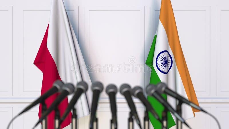 Flaga Polska i India przy międzynarodowym spotkaniem lub konferencją świadczenia 3 d zdjęcia stock