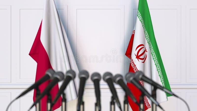 Flaga Polska i Iran przy międzynarodowym spotkaniem lub konferencją świadczenia 3 d zdjęcie stock