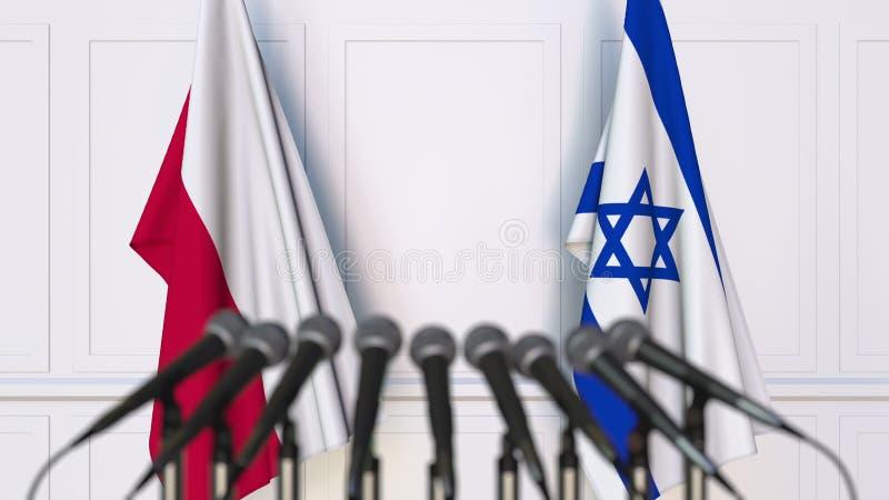 Flaga Polska i Izrael przy międzynarodowym spotkaniem lub konferencją świadczenia 3 d obraz royalty free