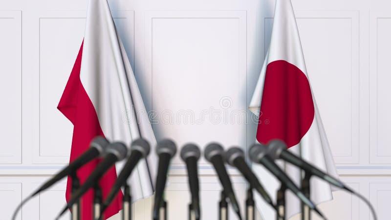 Flaga Polska i Japonia przy międzynarodowym spotkaniem lub konferencją świadczenia 3 d obrazy royalty free