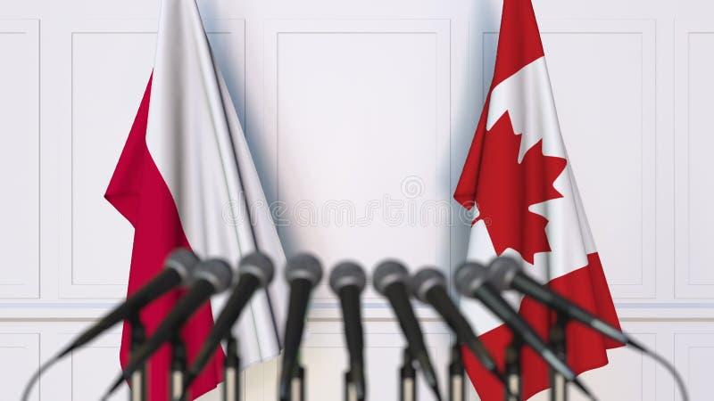 Flaga Polska i Kanada przy międzynarodowym spotkaniem lub konferencją świadczenia 3 d obraz royalty free